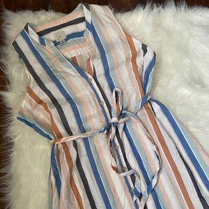 A New Day Mutli Striped Button Down Dress Size M